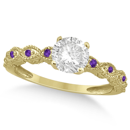 Vintage Diamond & Amethyst Engagement Ring 18k Yellow Gold 0.50ct
