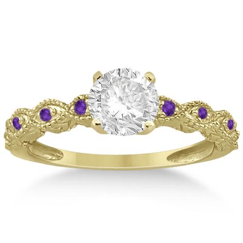 Vintage Diamond & Amethyst Engagement Ring 18k Yellow Gold 0.75ct