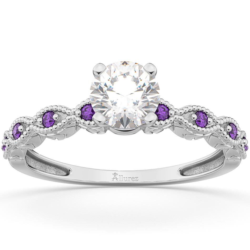 Vintage Diamond & Amethyst Engagement Ring Platinum 0.50ct