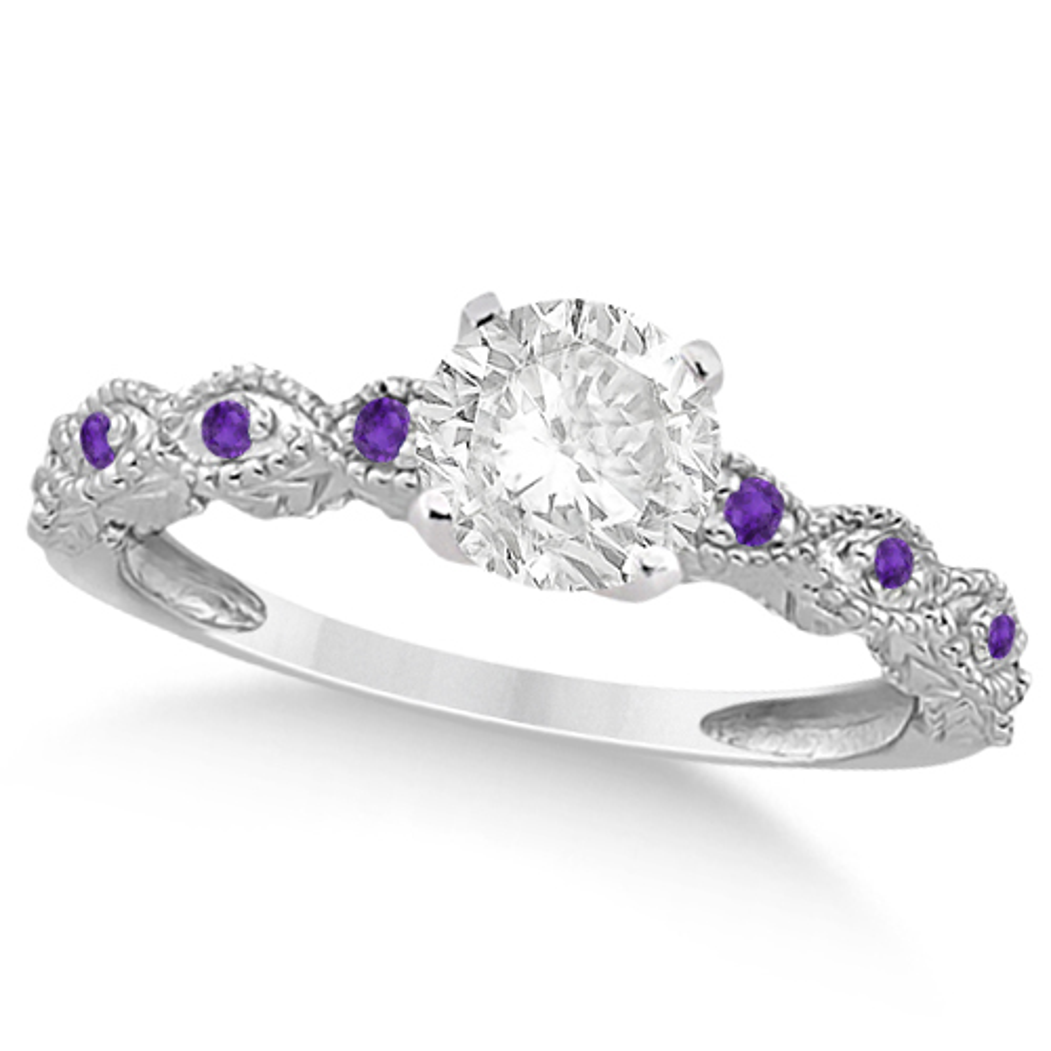 Vintage Diamond & Amethyst Engagement Ring Platinum 1.50ct