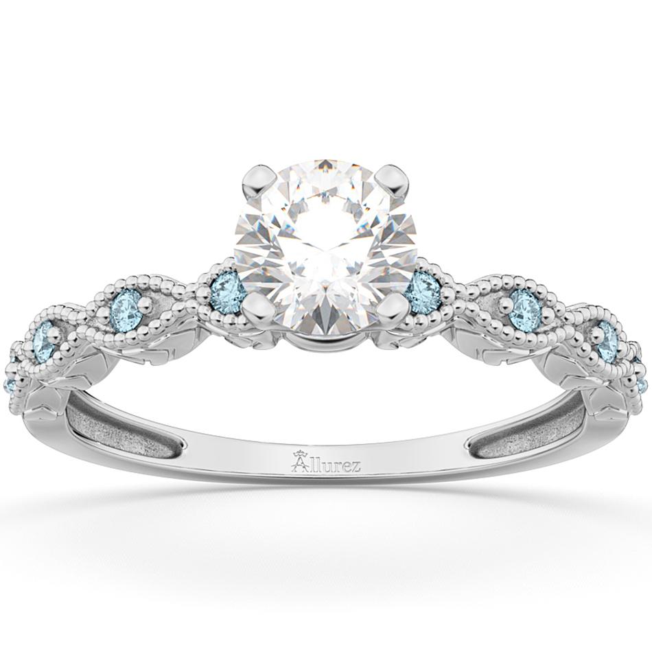 Vintage Diamond & Aquamarine Engagement Ring 14k White Gold 0.50ct