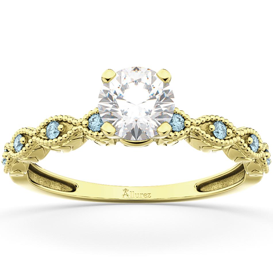 Vintage Diamond & Aquamarine Engagement Ring 14k Yellow Gold 0.50ct