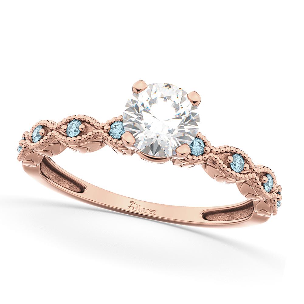 Vintage Diamond & Aquamarine Engagement Ring 18k Rose Gold 0.75ct