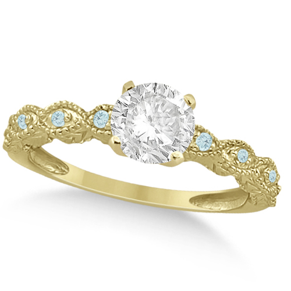 Vintage Diamond & Aquamarine Engagement Ring 18k Yellow Gold 0.75ct
