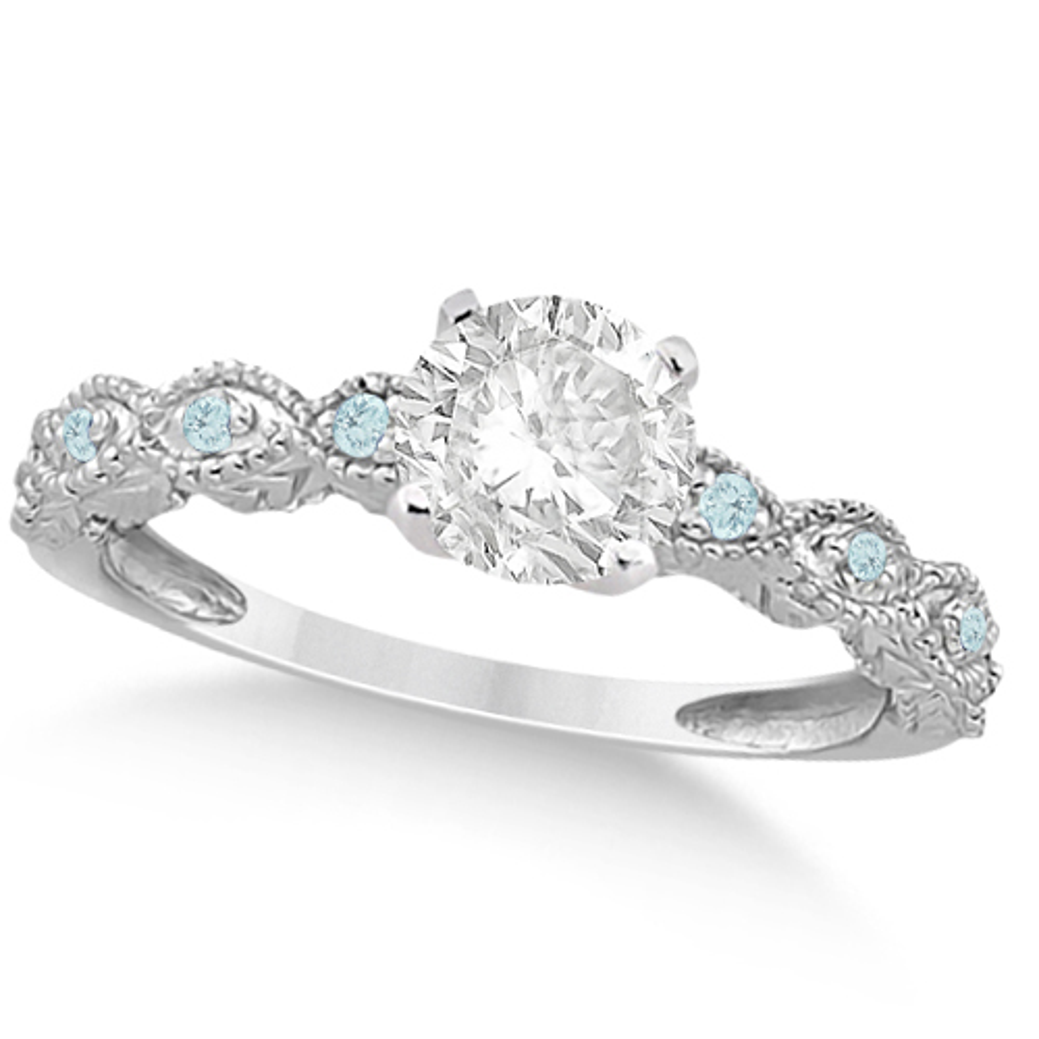 Vintage Diamond & Aquamarine Engagement Ring Palladium 1.00ct