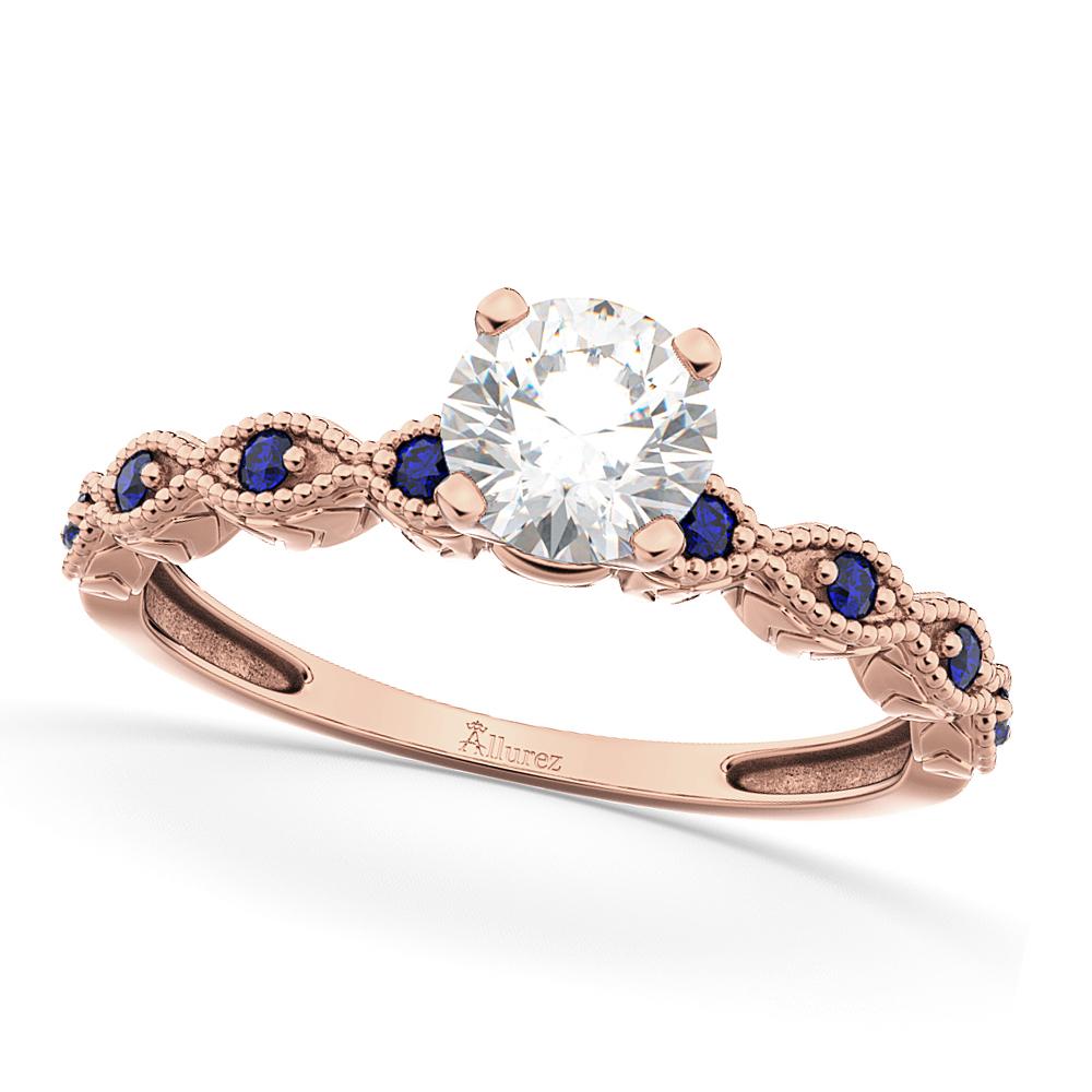 Vintage Diamond & Blue Sapphire Engagement Ring 14k Rose Gold 0.75ct