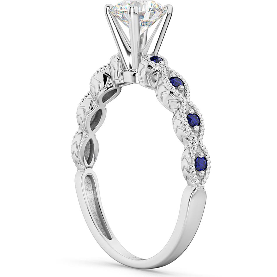vintage diamond amp blue sapphire engagement ring 14k white