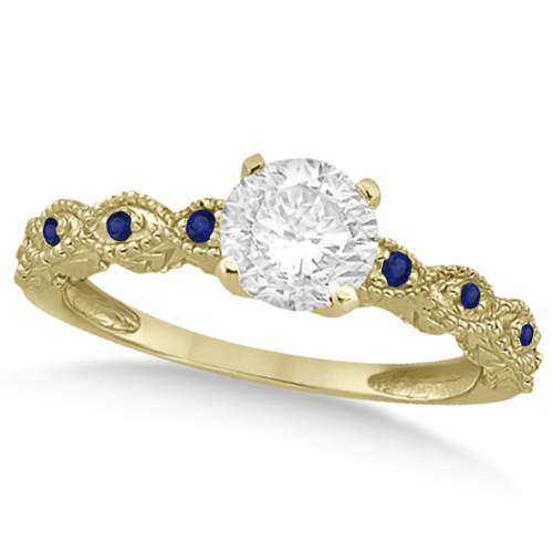 Vintage Diamond & Blue Sapphire Engagement Ring 14k Yellow Gold 0.75ct