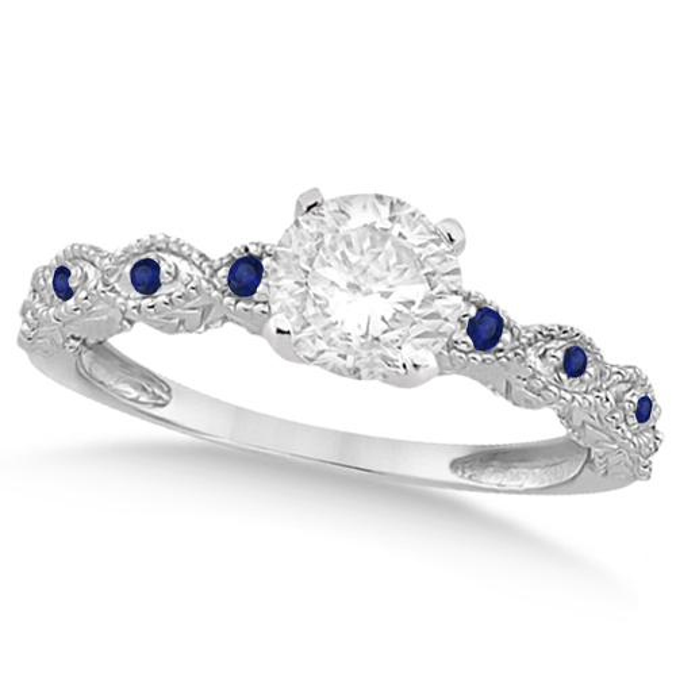 Vintage Diamond & Blue Sapphire Engagement Ring 18k White Gold 1.50ct