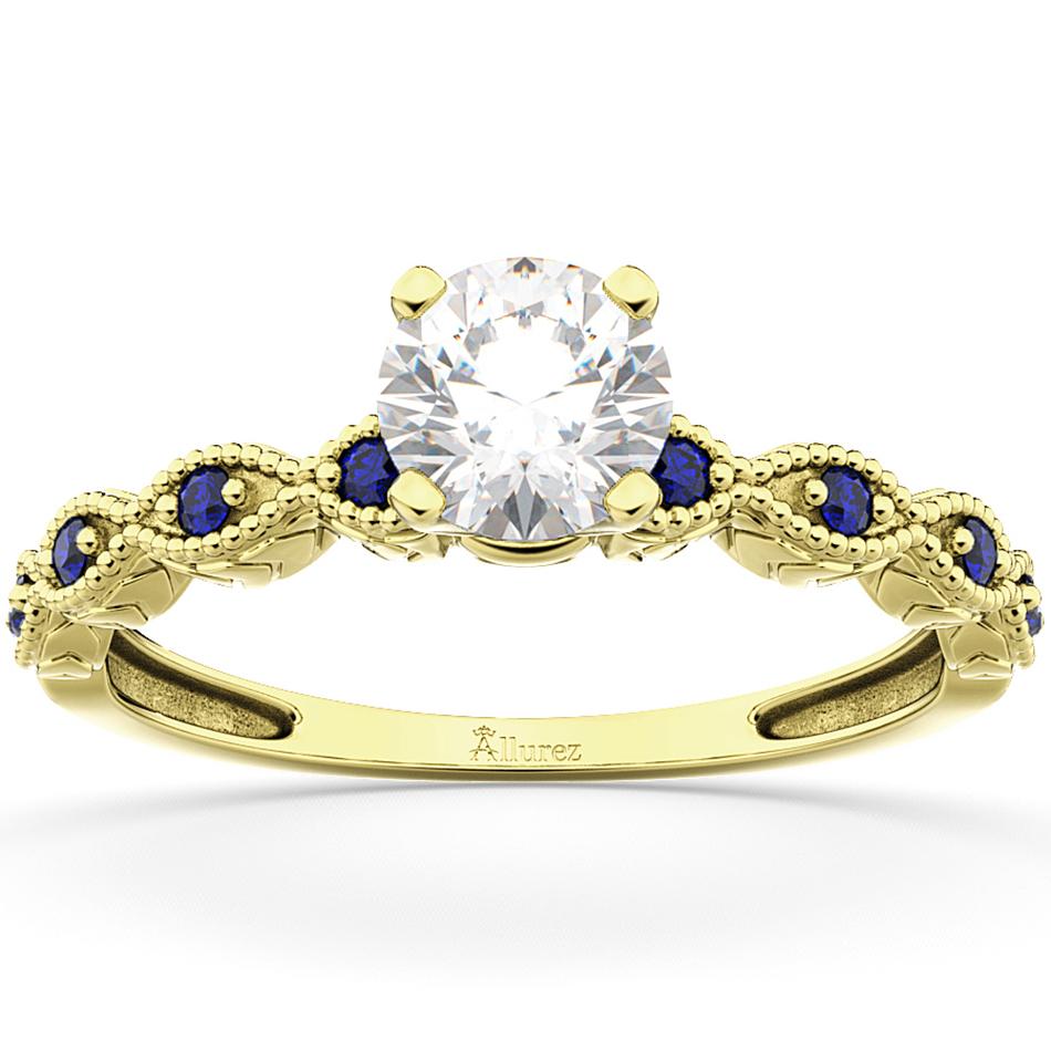 Vintage Diamond & Blue Sapphire Engagement Ring 18k Yellow Gold 1.00ct