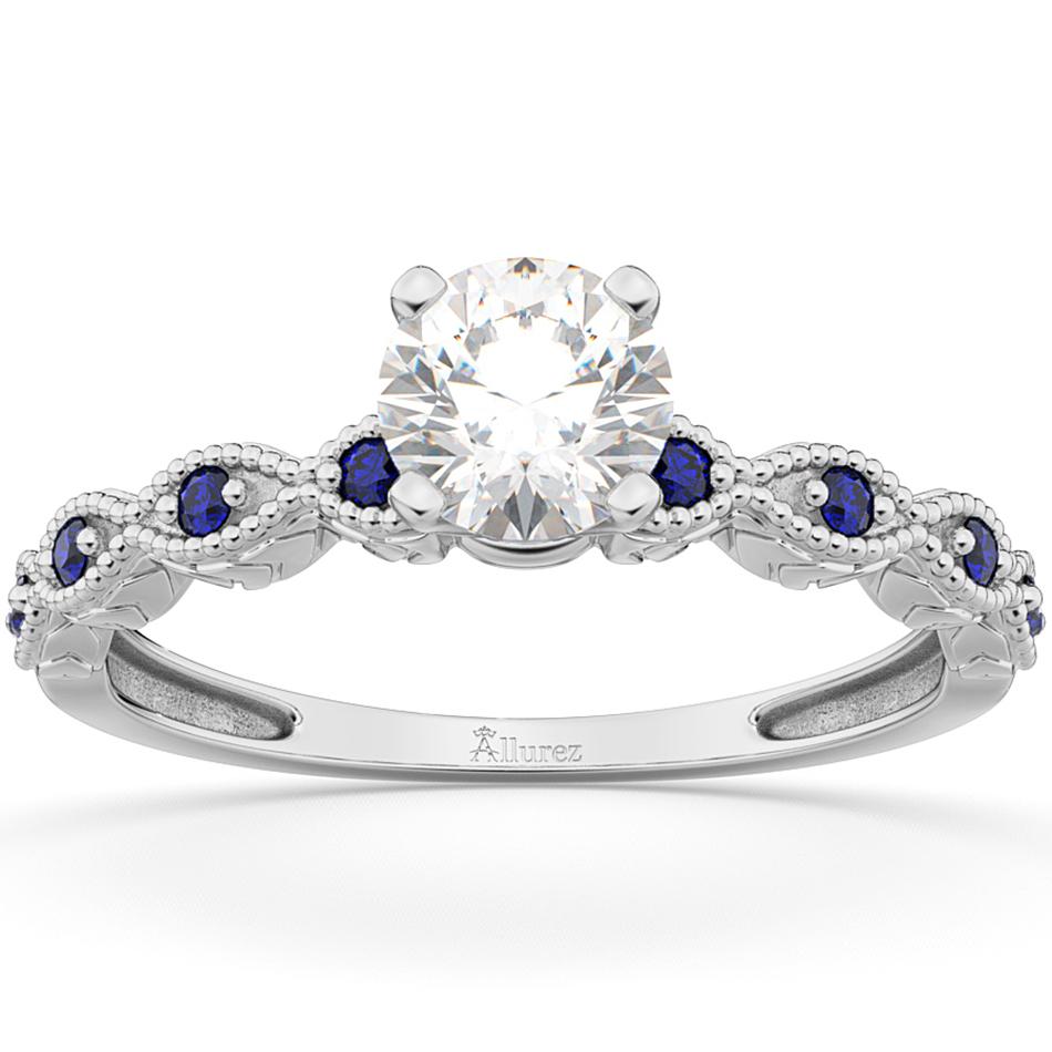 Vintage Diamond & Blue Sapphire Engagement Ring Palladium 1.00ct