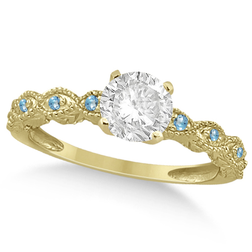 Vintage Diamond & Blue Topaz Engagement Ring 14k Yellow Gold 0.75ct