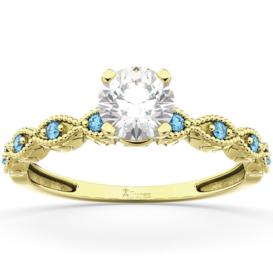 Vintage Diamond & Blue Topaz Engagement Ring 18k Yellow Gold 1.50ct