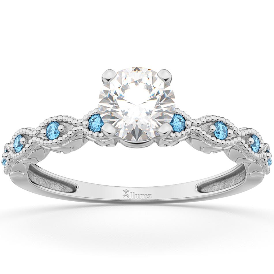 Vintage Diamond & Blue Topaz Engagement Ring Palladium 0.75ct