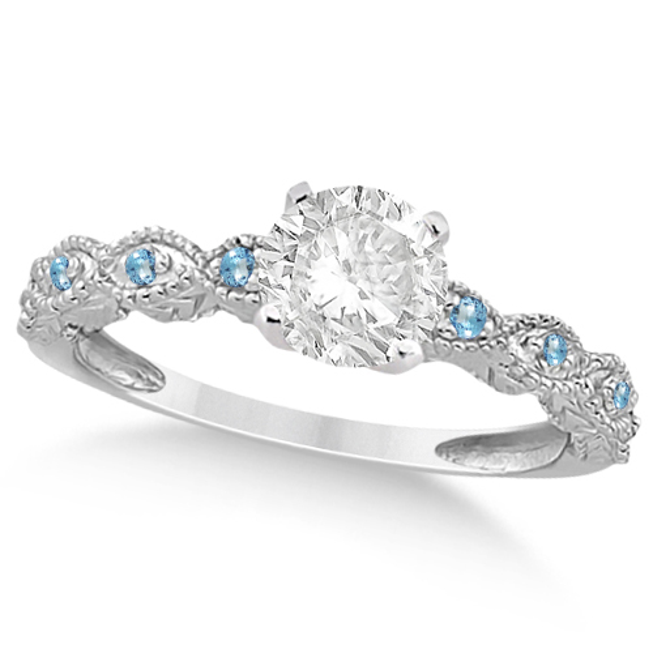 Vintage Diamond & Blue Topaz Engagement Ring Platinum 0.75ct