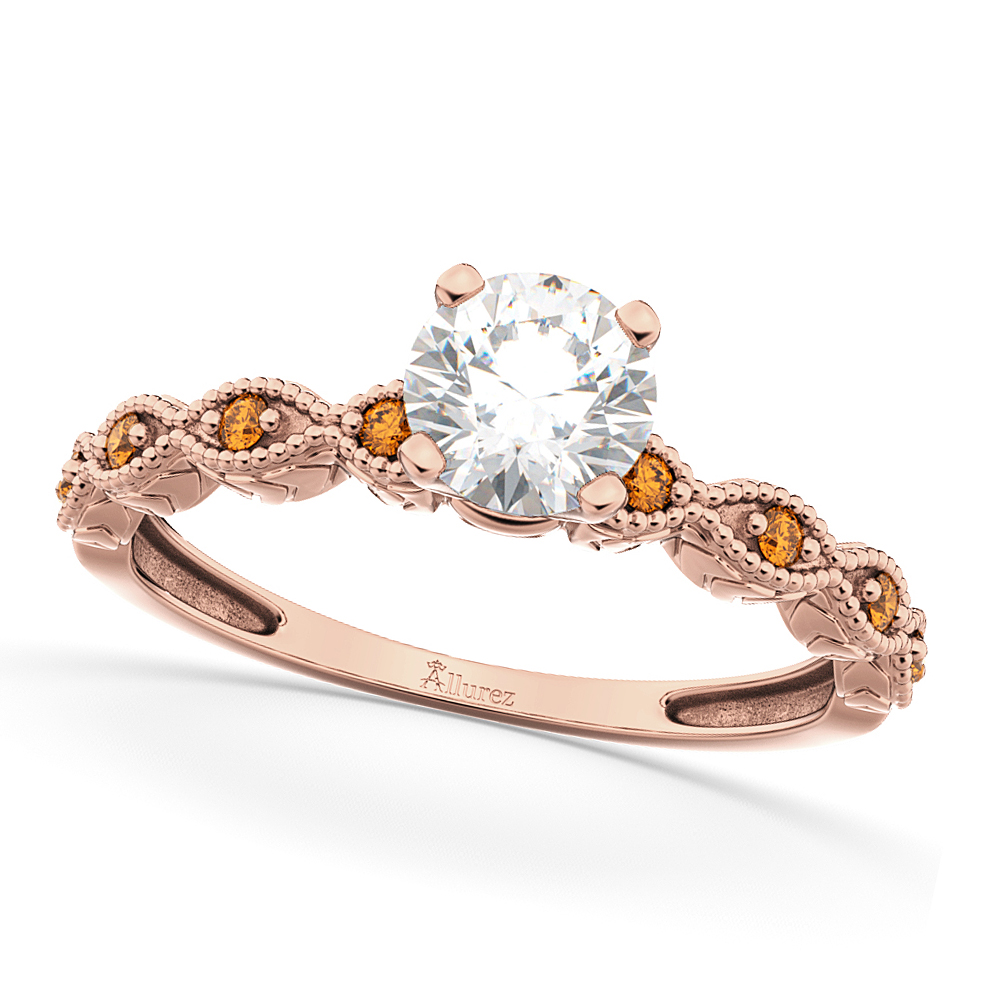 Vintage Diamond & Citrine Engagement Ring 14k Rose Gold 0.50ct