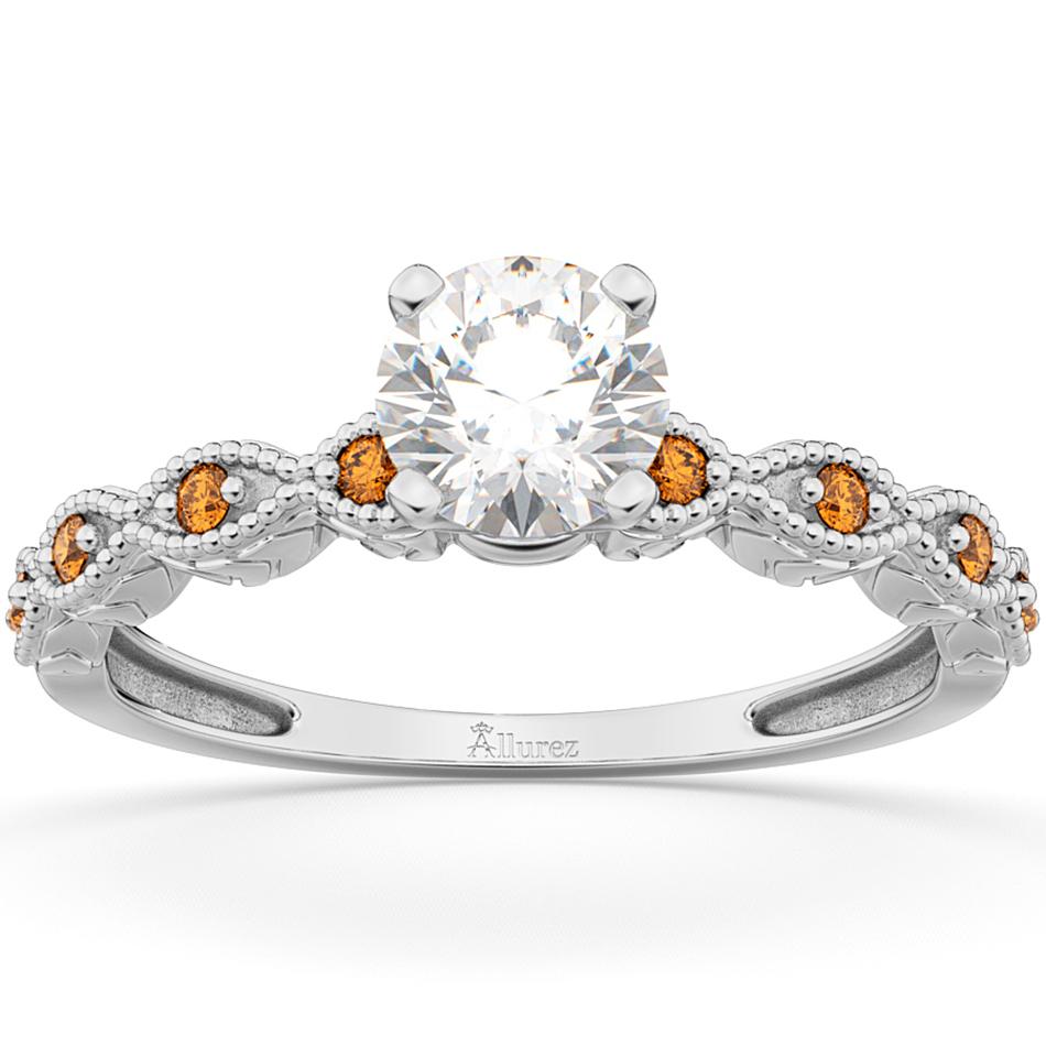 Vintage Diamond & Citrine Engagement Ring 14k White Gold 0.75ct