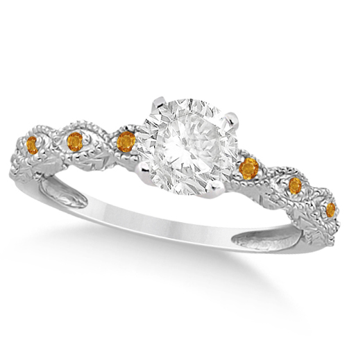 Vintage Diamond & Citrine Engagement Ring 18k White Gold 1.50ct