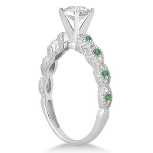 Vintage Diamond & Emerald Engagement Ring 14k White Gold 0.75ct