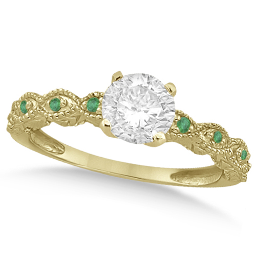Vintage Diamond & Emerald Engagement Ring 14k Yellow Gold 0.75ct