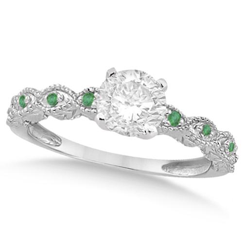 Vintage Diamond & Emerald Engagement Ring Platinum 0.75ct