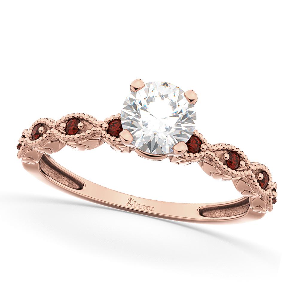 Vintage Diamond & Garnet Engagement Ring 14k Rose Gold 0.50ct
