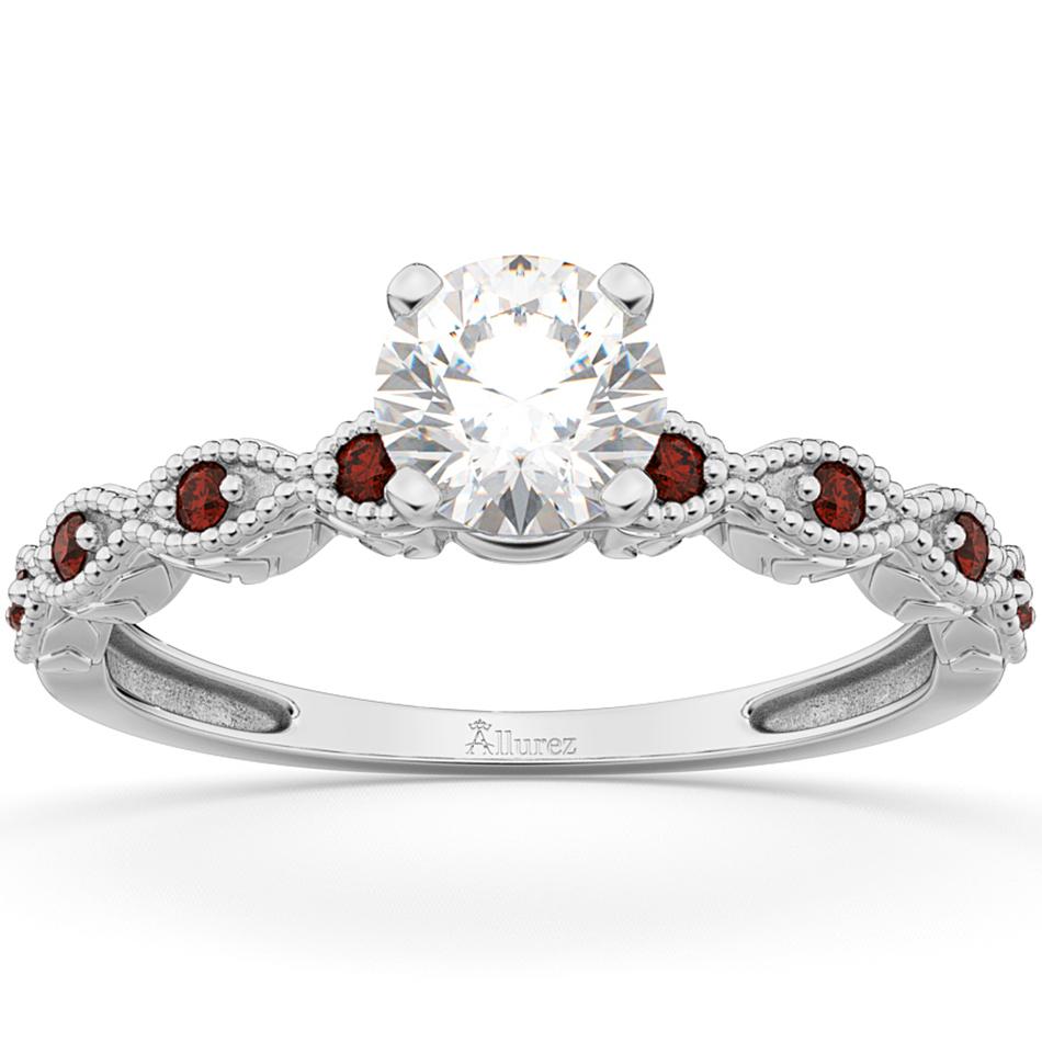 Vintage Diamond & Garnet Engagement Ring 14k White Gold 0.50ct