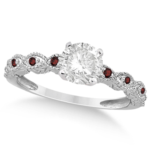 Vintage Diamond & Garnet Engagement Ring 14k White Gold 0.75ct
