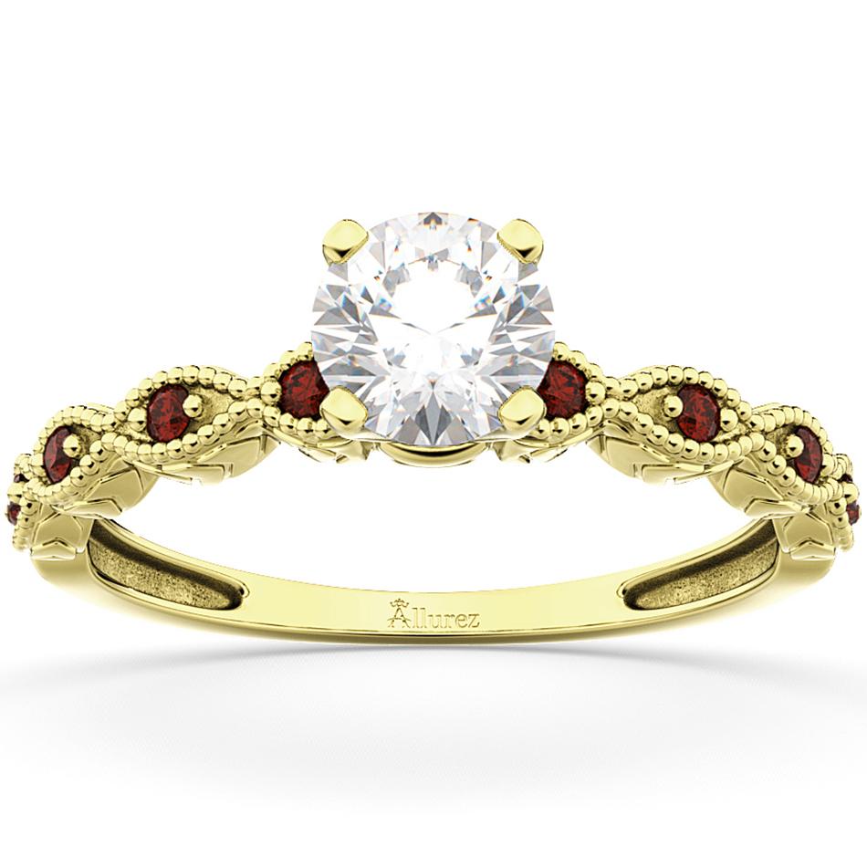 Vintage Diamond & Garnet Engagement Ring 18k Yellow Gold 0.50ct