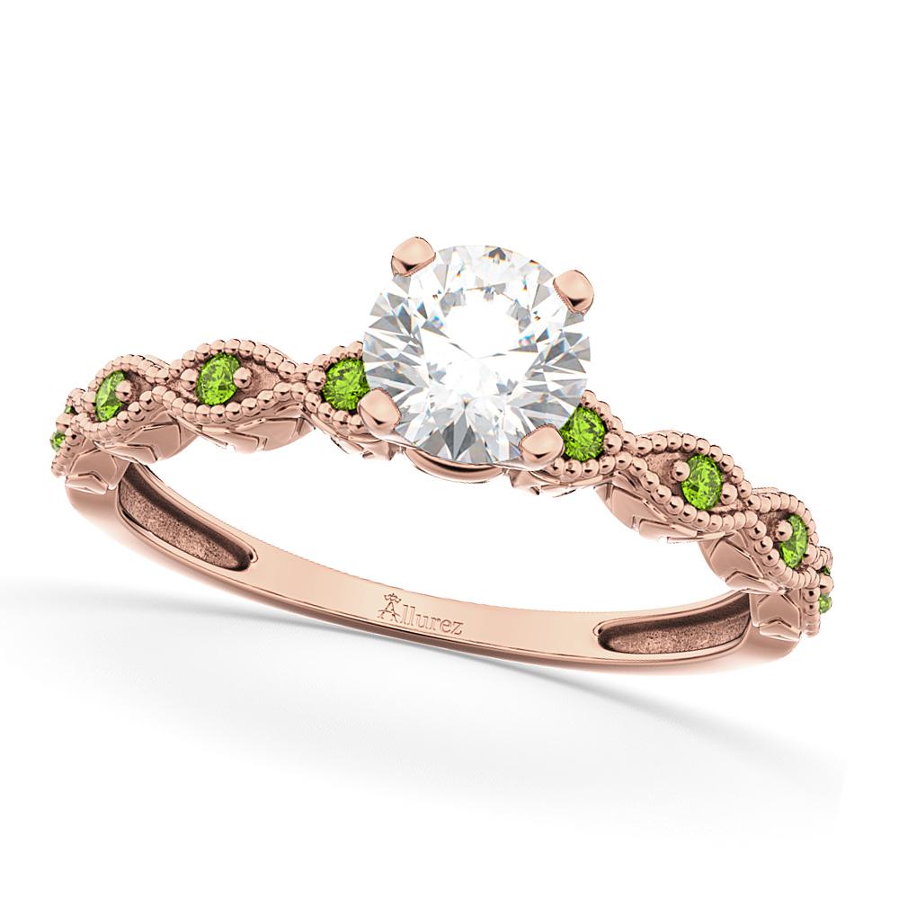 Vintage Diamond & Peridot Engagement Ring 14k Rose Gold 1.50ct