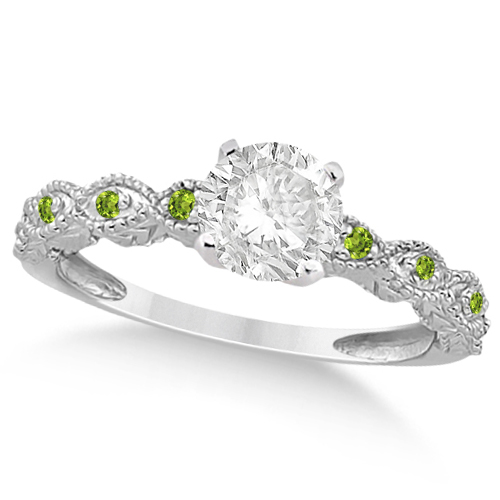 Vintage Diamond & Peridot Engagement Ring 18k White Gold 1.50ct