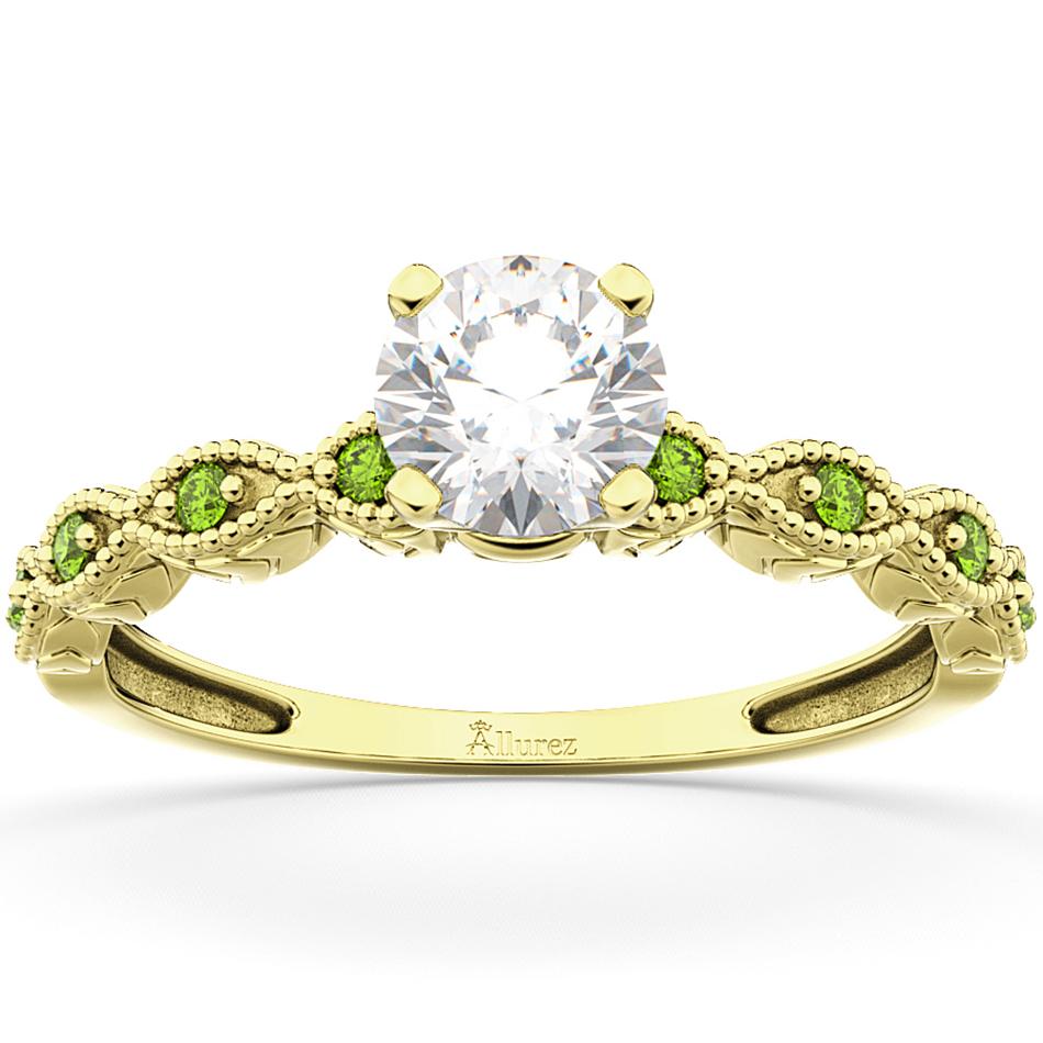 Vintage Diamond & Peridot Engagement Ring 18k Yellow Gold 0.75ct