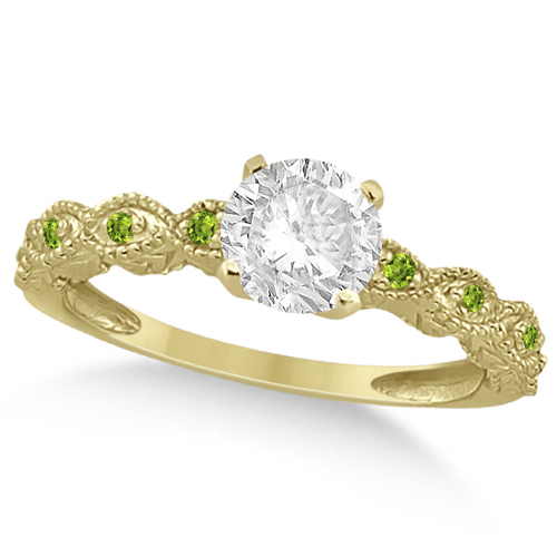 Vintage Diamond & Peridot Engagement Ring 18k Yellow Gold 1.50ct