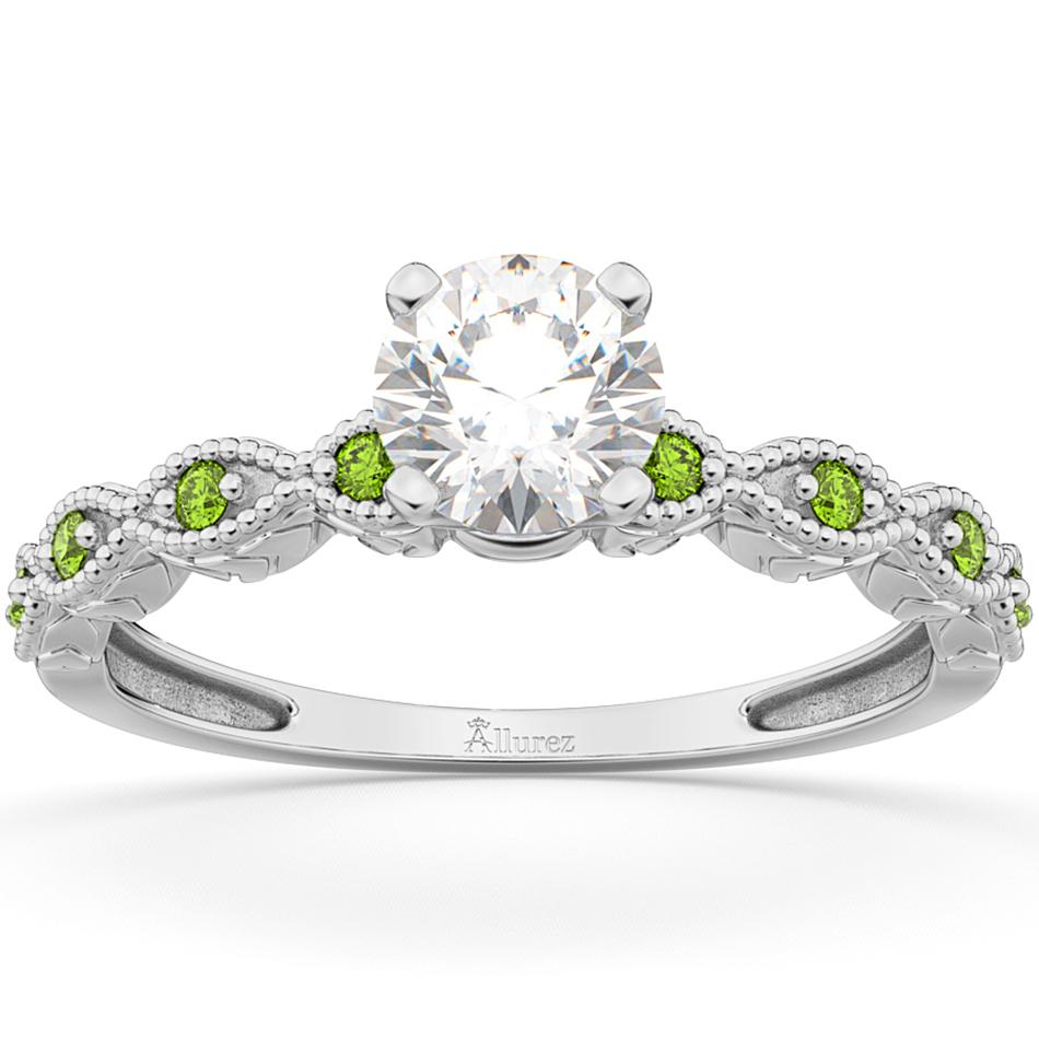 Vintage Diamond & Peridot Engagement Ring Platinum 0.75ct