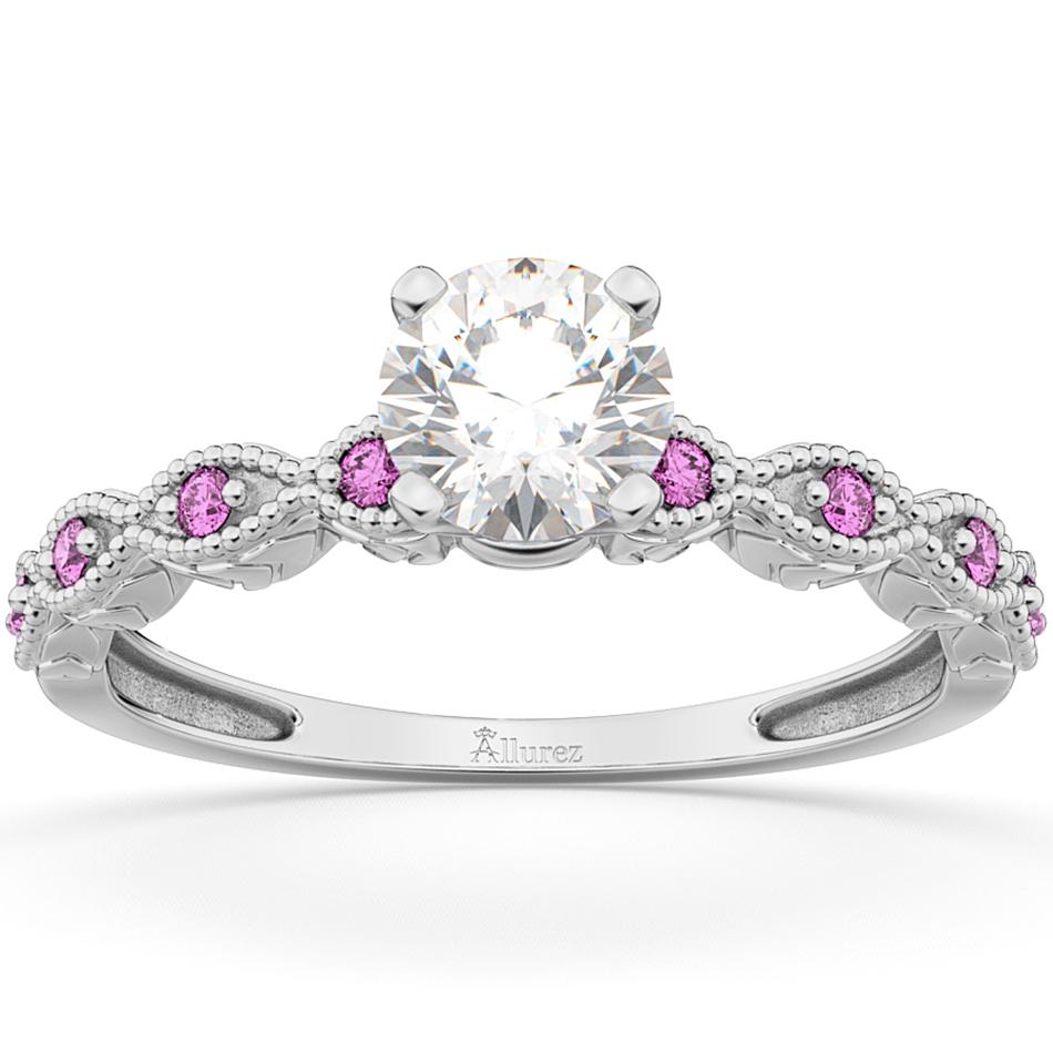 Vintage Diamond & Pink Sapphire Engagement Ring 14k White Gold 0.50ct