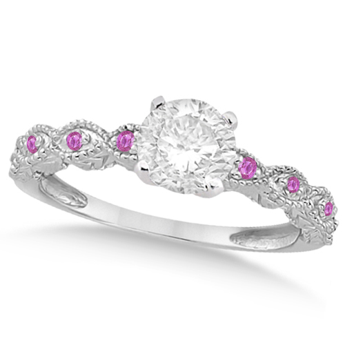 Vintage Diamond & Pink Sapphire Engagement Ring 14k White Gold 0.75ct