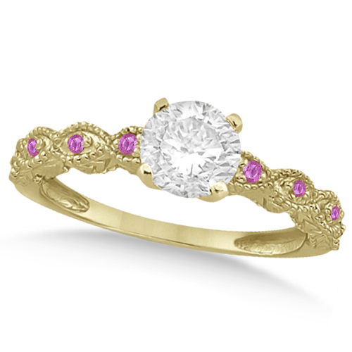 Vintage Diamond & Pink Sapphire Engagement Ring 14k Yellow Gold 0.75ct