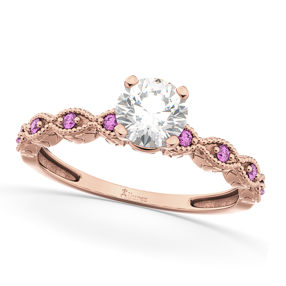 Vintage Diamond & Pink Sapphire Engagement Ring 18k Rose Gold 0.50ct