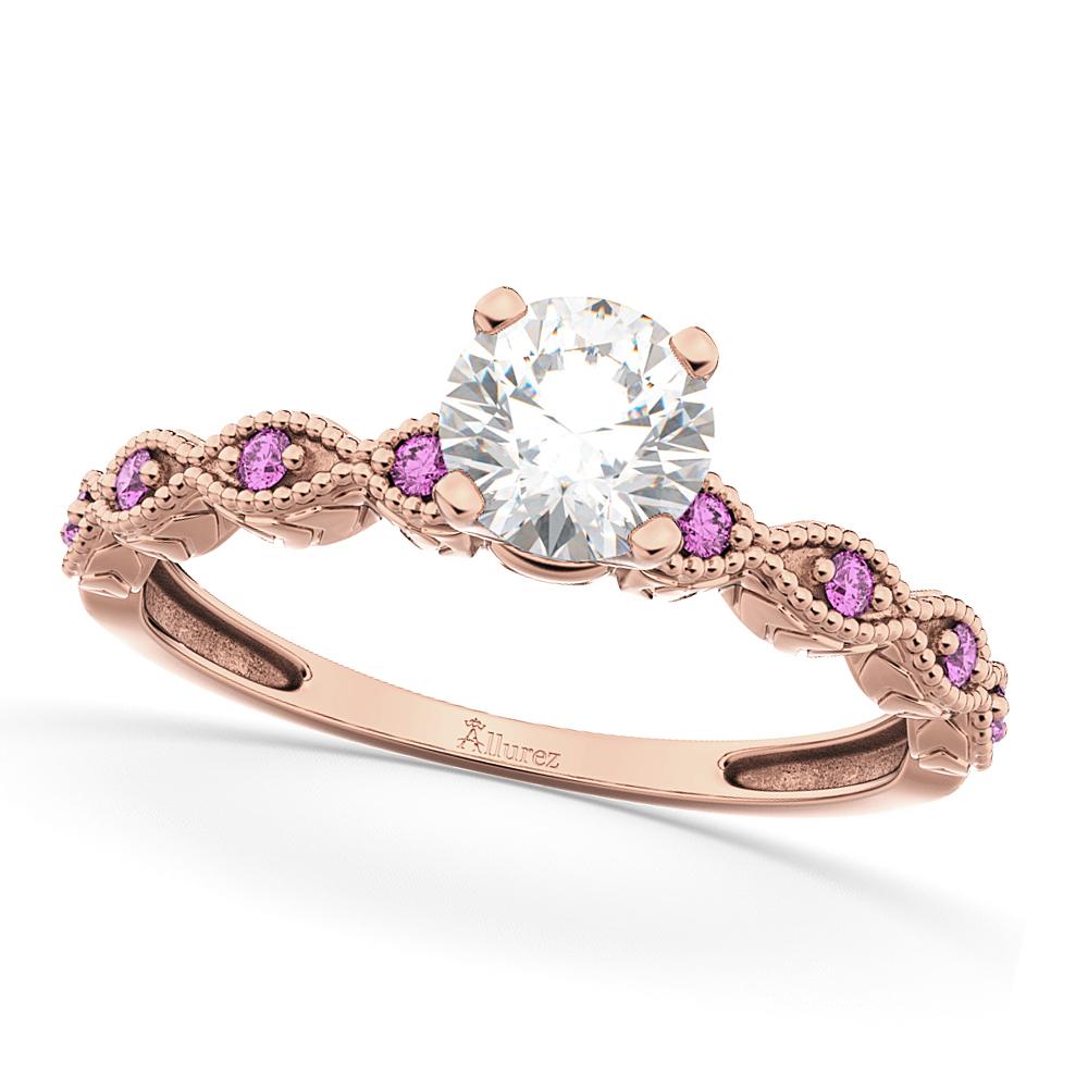 Vintage Diamond & Pink Sapphire Engagement Ring 18k Rose Gold 1.00ct