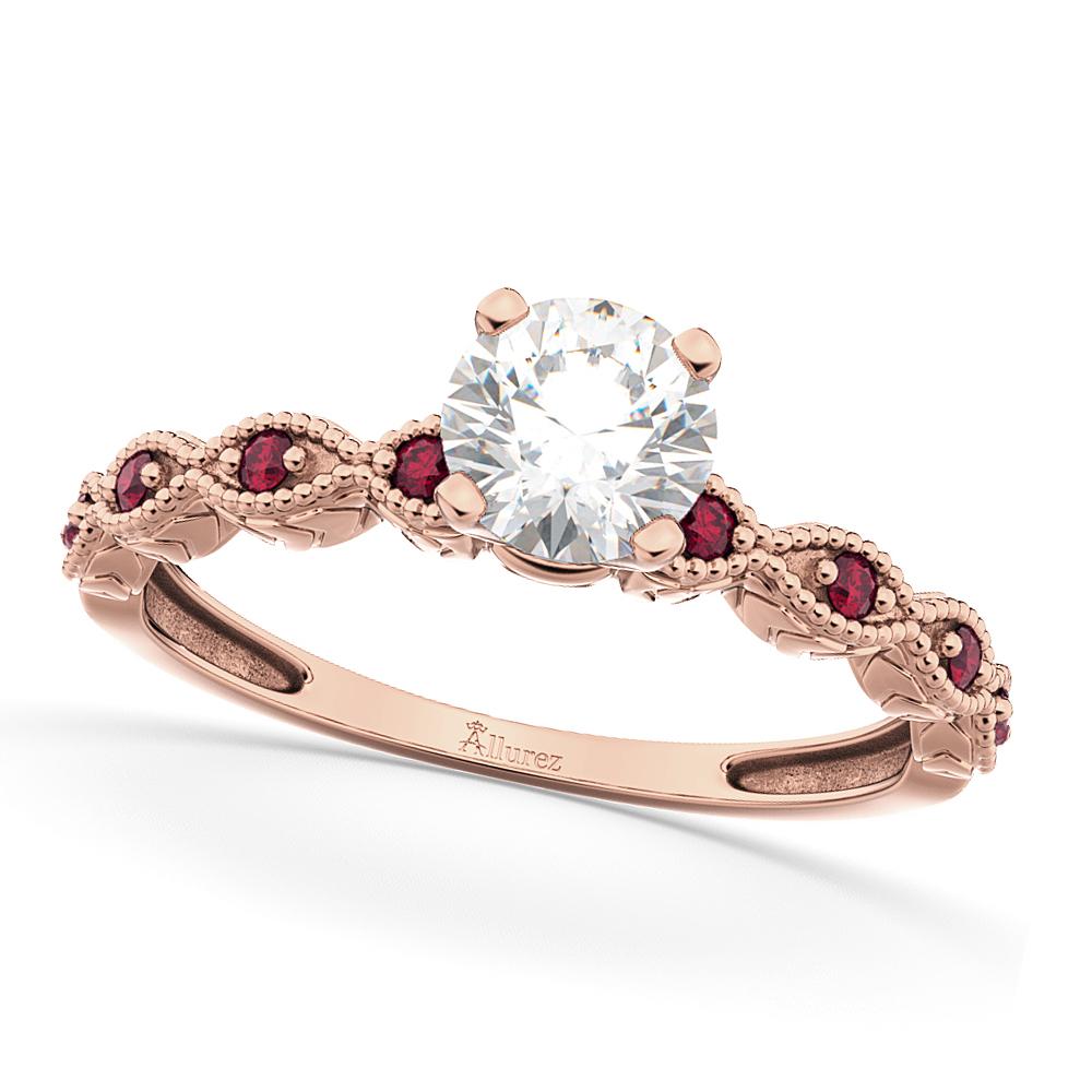 Vintage Diamond & Ruby Engagement Ring 14k Rose Gold 0.75ct