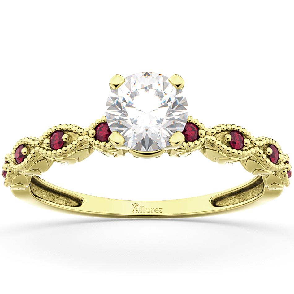 Engagement Ring Ruby Sidestones
