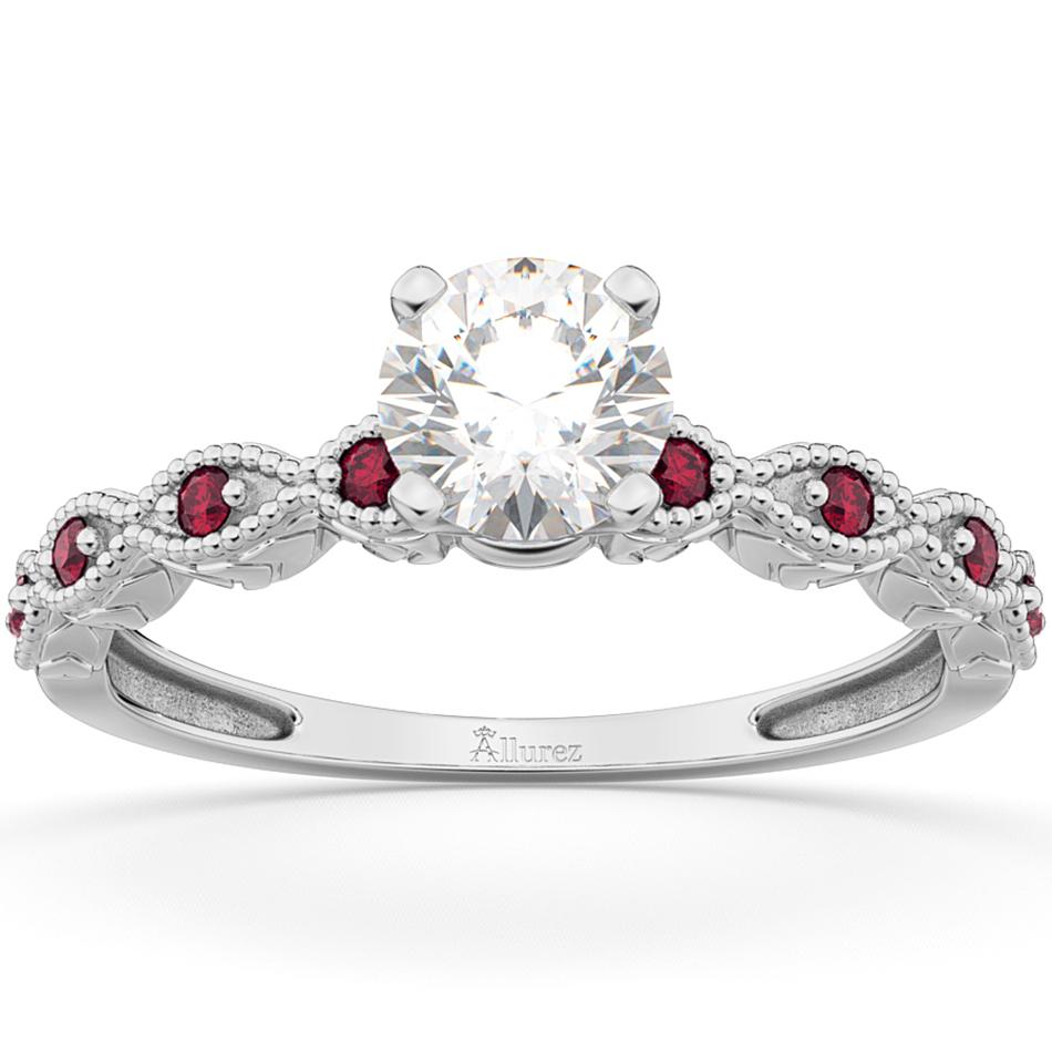 Vintage Diamond & Ruby Engagement Ring Palladium 0.75ct