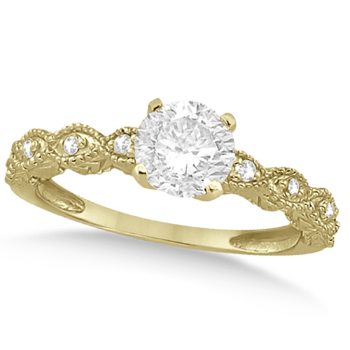 Petite Antique-Design Diamond Bridal Set in 14k Yellow Gold (1.08ct)