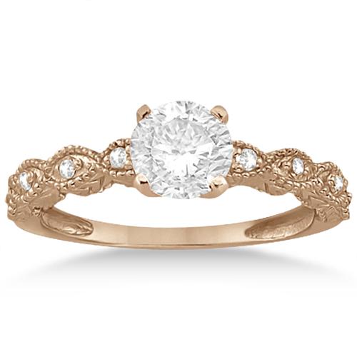 Antique Diamond Engagement Ring Set 14k Rose Gold (0.20ct)