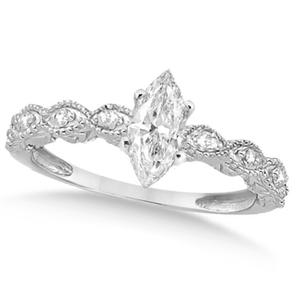 Marquise Antique Style Diamond Bridal Set in 14k White Gold (0.58ct)