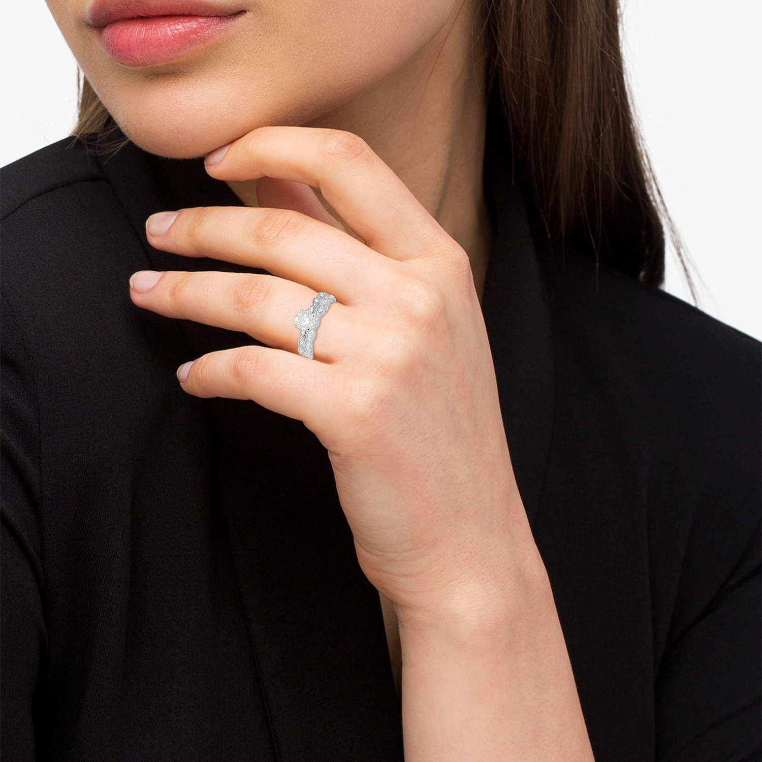 Antique Diamond Engagement Ring Set 14k White Gold (0.20ct)