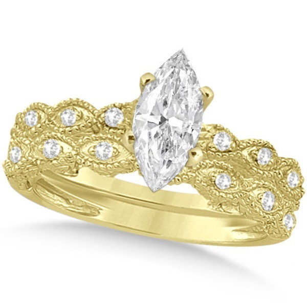 Marquise Antique Style Diamond Bridal Set in 14k Yellow Gold (1.58ct)