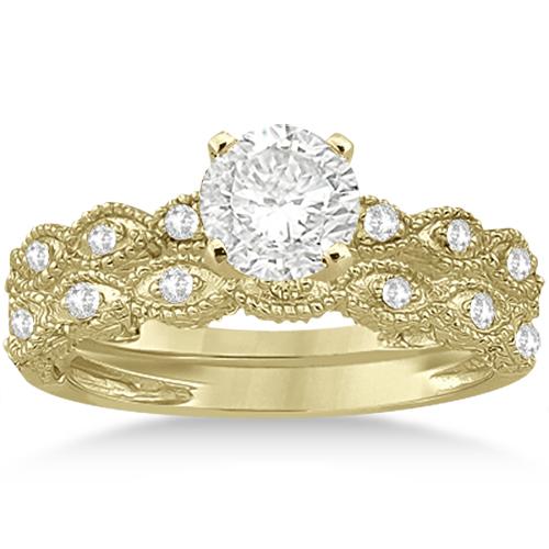 Antique Diamond Engagement Ring Set 14k Yellow Gold (0.20ct)