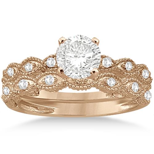 Antique Diamond Engagement Ring Set 18k Rose Gold (0.20ct)
