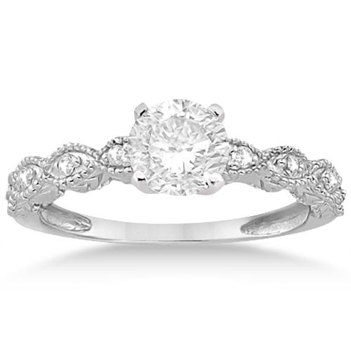 Antique Diamond Engagement Ring Set 18k White Gold (0.20ct)